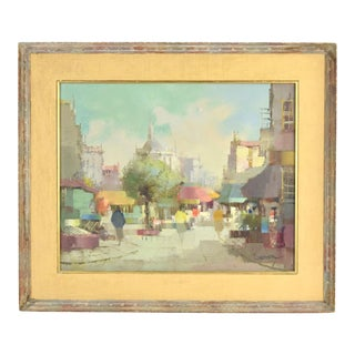 Vintage Mid-Century Modern Abstract Cityscape Signed Jacques Cordier For Sale