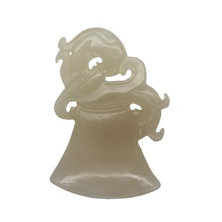 Light White Natural Jade Pendant With Dragon Handle Ax Lucky Feng Shui Figure For Sale