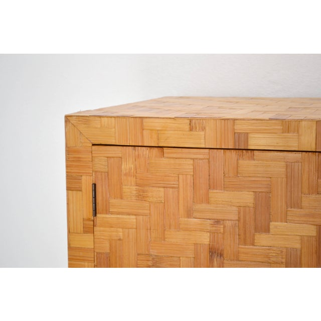 Brown Midcentury Two-Door Rattan Cabinet For Sale - Image 8 of 11