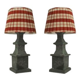 American Victorian green tole outdoor 4-tier finial posts mounted as table lamps- A Pair For Sale
