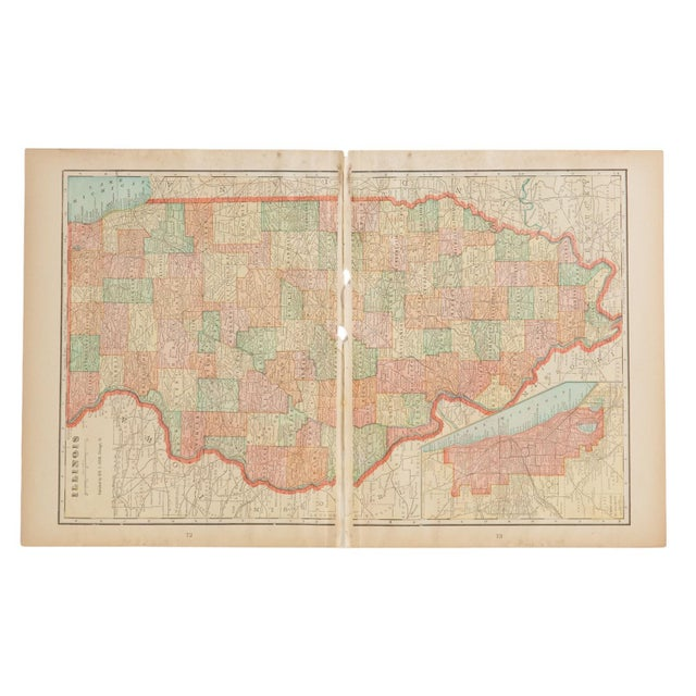 """:: From Cram's Unrivaled Atlas of the World 1907 Edition, a map of Illinois that measures 23.5"""" x 14.5"""". Page Numbers of..."""