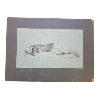 1950 Vintage Frances Buell Lounging Female Watercolor Painting For Sale