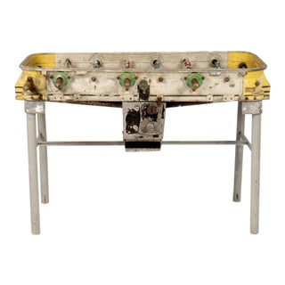 Yellow Vintage Cast Aluminum Foosball Table For Sale