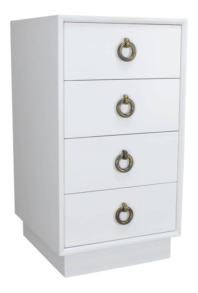 White Lacquer Mid-Century Modern Four-Drawer Cabinet Tall Nightstand End Table - Image  sc 1 st  Decaso & Excellent White Lacquer Mid-Century Modern Four-Drawer Cabinet Tall ...