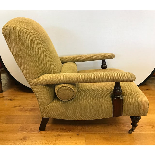 Edwardian George Smith Green Upholstered Edwardian Club Chair For Sale - Image 3 of 6