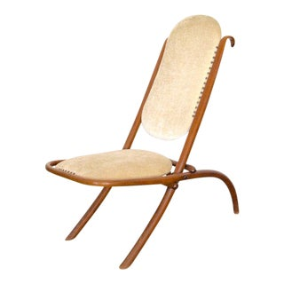 Early 20th C Art Nouveau Folding Chair in Cream Velvet by Thonet For Sale