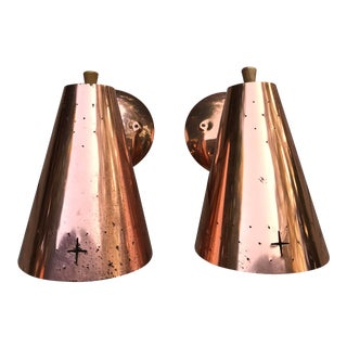 1960s Mid Century Modern Copper Sconces - a Pair For Sale