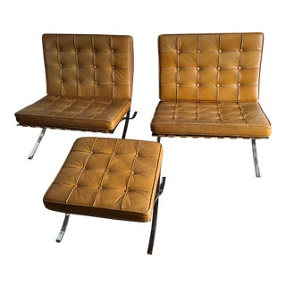 A Set of Two Vintage Barcelona Style Chairs With One Ottoman For Sale