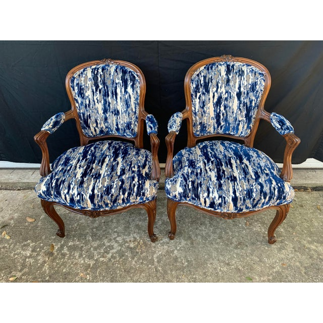 Antique French Carved Bergere Chairs-Pair For Sale - Image 4 of 13
