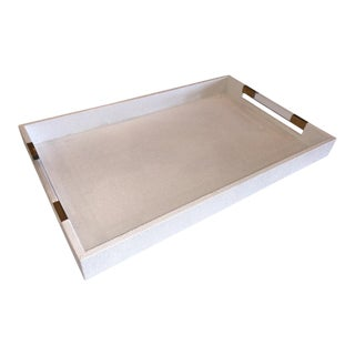 Large Modern White Leather Rectangular Tray With Acrylic and Brass Handles For Sale