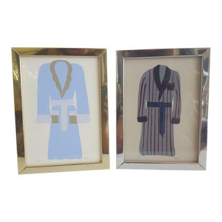 Vintage Bathrobe Illustrations Framed Paintings Signed- a Pair