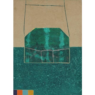 """Gary Lee Shaffer """"House Grid"""" Large Abstract Collograph Print in Green, 1988 1988 For Sale"""