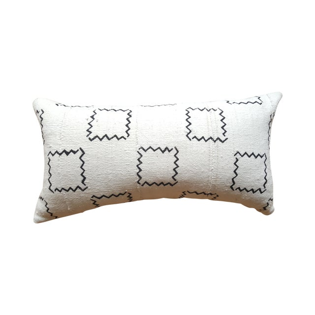African Mud Cloth Geometric Lumbar Pillow - Image 1 of 3