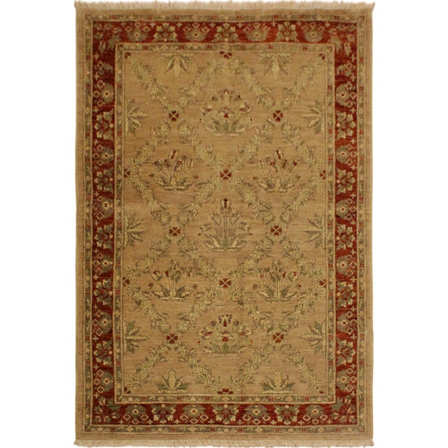 Tan Kafkaz Peshawar Fatima Tan/Rust Hand-Knotted Rug - 4'1 X 5'9 For Sale - Image 8 of 8
