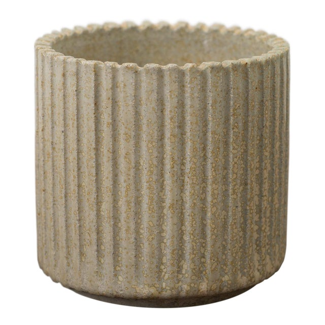 Arne Bang Small Ribbed Stoneware Vessel, Denmark 1950s For Sale