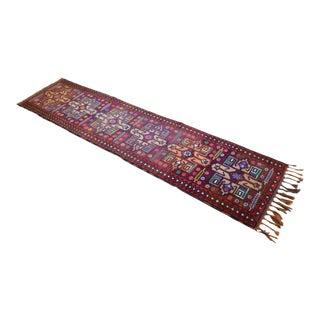 Distinctive Kurdish Runner Herki Rug. Hand-Knotted Full Tribal Hallway Rug - 3′ × 12′10″ For Sale