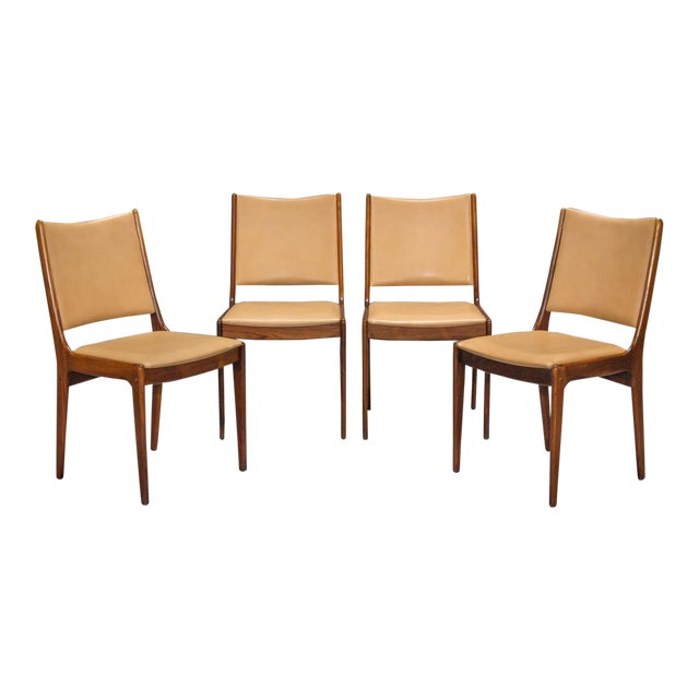1960s Vintage Danish Modern Rosewood & Leather Dining Chairs- Set of 4 For Sale