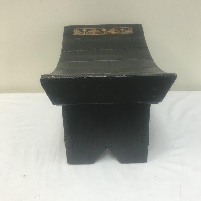 Wondrous Black Painted Saddle Seat Foot Stool Machost Co Dining Chair Design Ideas Machostcouk