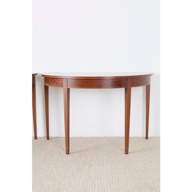 American Hepplewhite Style Demilune Console Tables - a Pair For Sale - Image 4 of 13