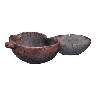 Pair of folk art wood bowls, Sweden