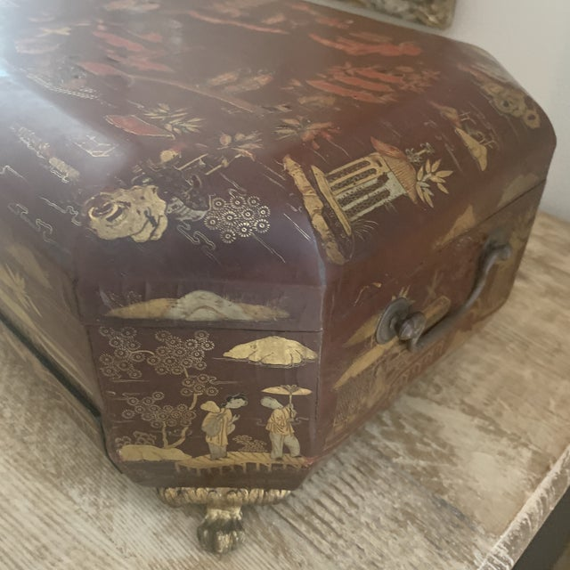 Early 20th Century Antique Chinese Iron Red Lacquered Sewing Box on Feet With Drawer For Sale - Image 5 of 12
