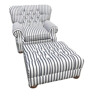 Contemporary Ralph Lauren Style Striped Sunbrella Upholstered Tufted Library Chair and Ottoman - 2 Pieces For Sale