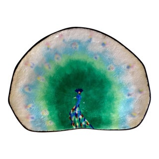 Enamel Peacock Tray For Sale