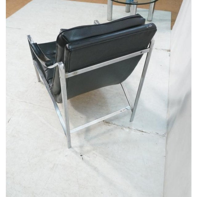 Mid-Century Modern Black Vinyl & Chrome Lounge Chair, Circa 1970 - Image 5 of 7