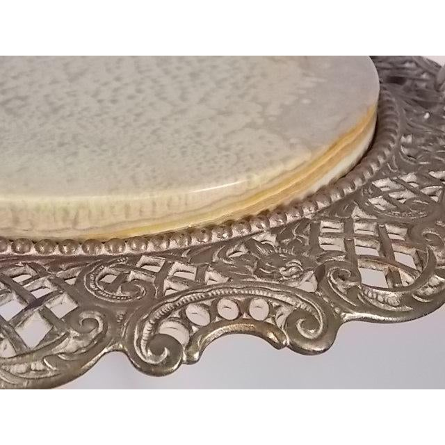 Tan Vintage Victorian Style Brass & Marble Top Filigree Stand For Sale - Image 8 of 10