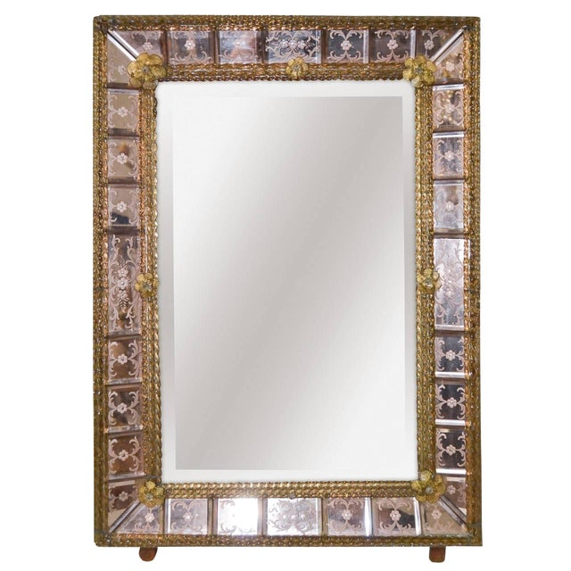Antique Pink Venetian Etched Mirror For Sale
