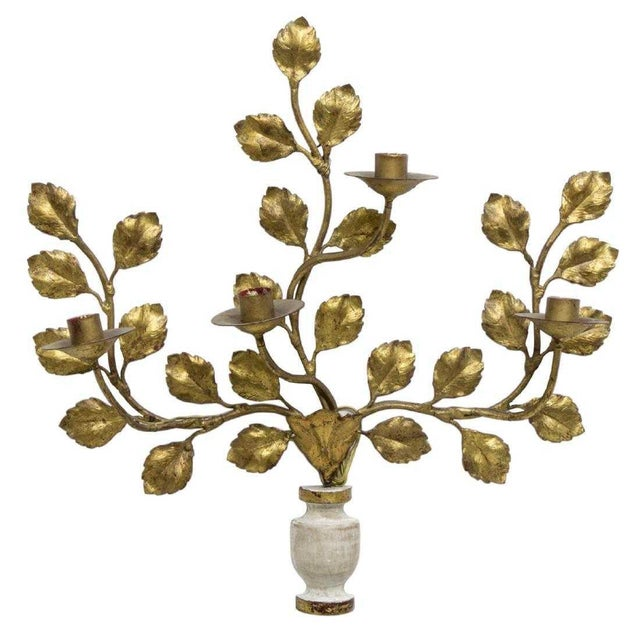 1950s Italian Carved Vasiform & Leafy Branch Wall Sconce For Sale - Image 13 of 13
