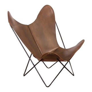Tabacco Leather Hardoy Butterfly Bkf Sling Chair For Sale