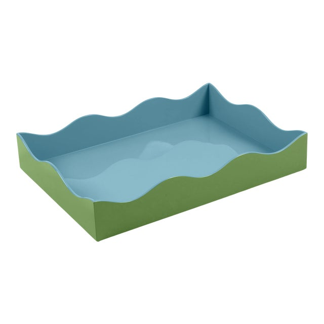 The Lacquer Company for Chairish Belle Rives Tray in Lettuce Green / Bluebird, Large For Sale