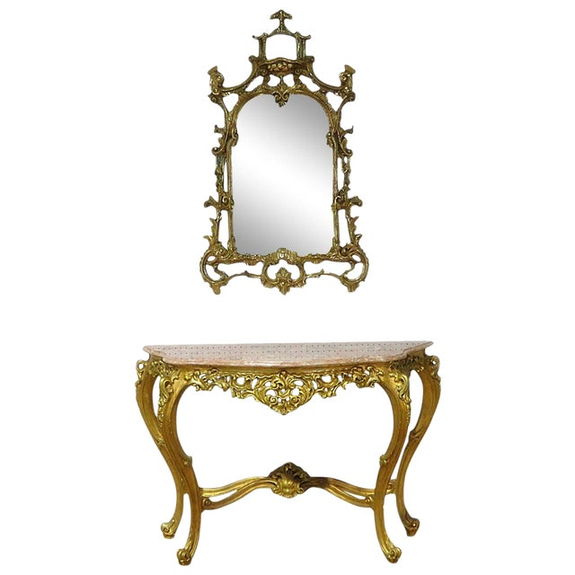 Florentine Style Marble Top Console With Mirror For Sale