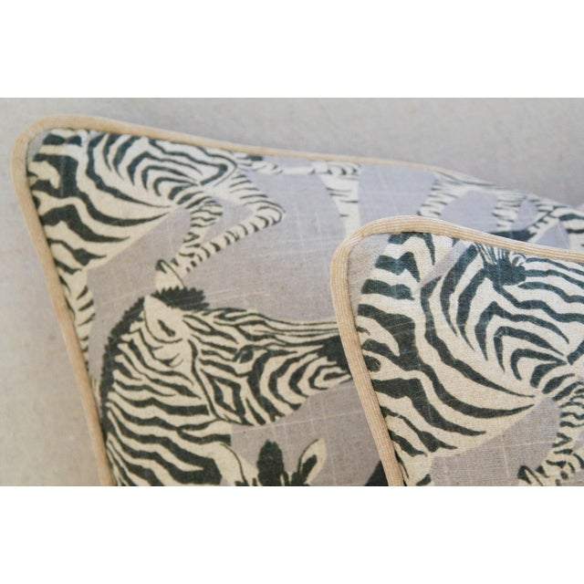 "Fabric Custom Safari Zebra Linen/Velvet Feather & Down Pillows 24"" x 18"" - Pair For Sale - Image 7 of 11"