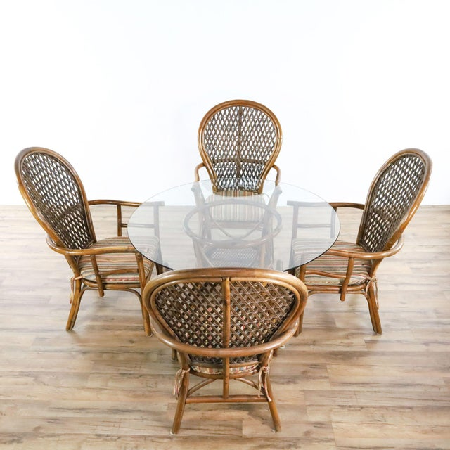 Fan chairs with cushions. Dimensions (in): 48.0 W x 48.0 D x 26.5 H.