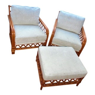 Ficks Reed Rattan Lounge Chairs & Ottoman For Sale