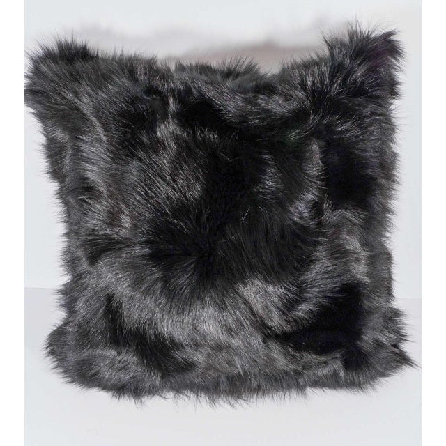 2010s Genuine Double-Sided Black Fox Pillows For Sale - Image 5 of 5