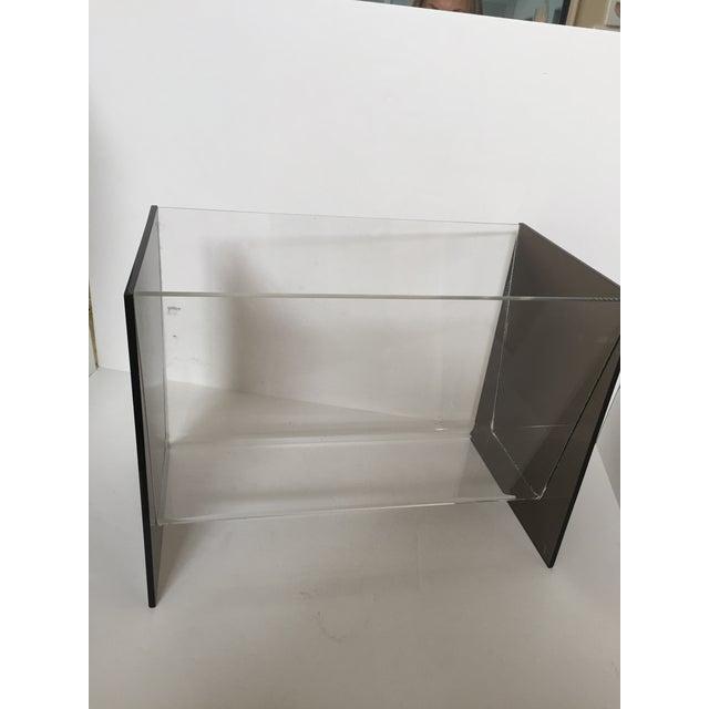 Clear & Smoky Grey Lucite Magazine Holder - Image 5 of 8
