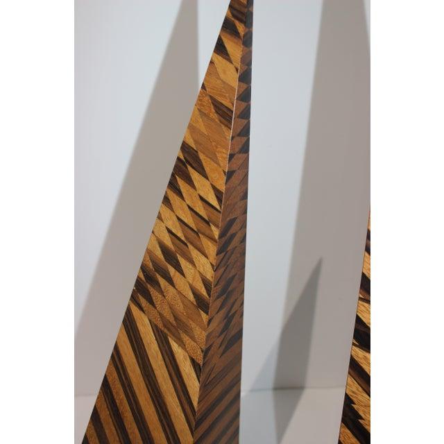 Modern Vintage Parquetry Wood Obelisks - Set of 2 For Sale - Image 3 of 13