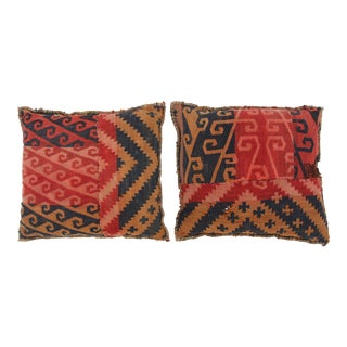 Double-Sided Turkish Kilim Pillows - A Pair For Sale