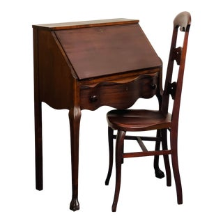 Antique Mahogany Claw Foot Drop Front Secretary & Chair Set For Sale