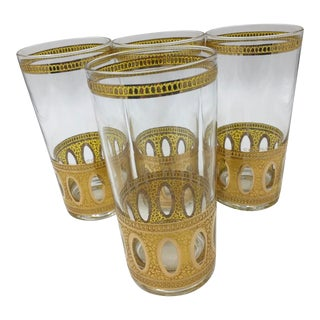 Culver 22k Gold Antigua Highball Glasses - Set of 4 For Sale