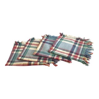20th Century Country Plaid Fringe Dinner Napkins - Set of 4 For Sale