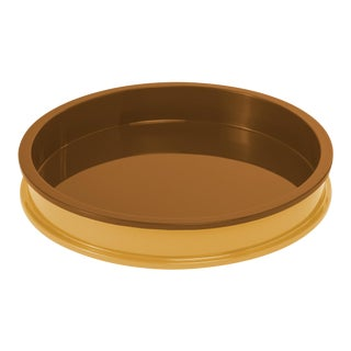 Jeffrey Bilhuber Collection Small Circular Tray in Mayan Gold / Saddle Tan For Sale