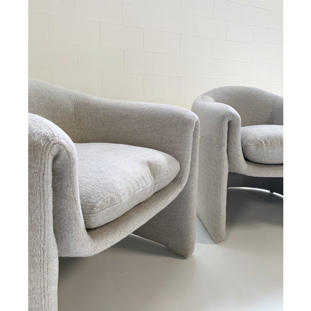 1970s Preview Modernist Lounge Chairs Restored in Loro Piana Alpaca Wool Fabric - Pair For Sale - Image 5 of 8