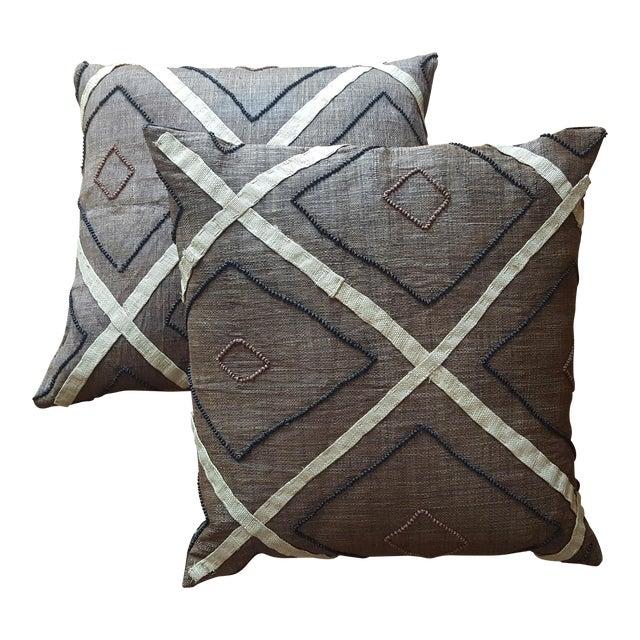 African Kuba Cloth Pillows- A Pair - Image 1 of 3