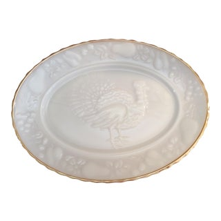 Vintage 24k Gold Rimmed Milk Glass Platter For Sale