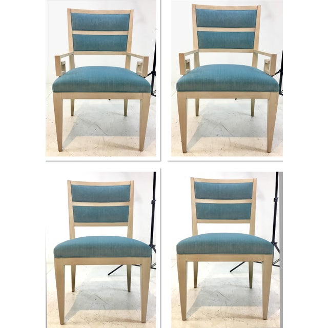 Hickory White Modern Turquoise Velvet Greek Key Dining Chairs Set of Four For Sale - Image 11 of 11