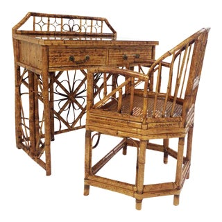 English Bamboo Writing Table Desk & Chair